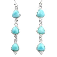 12.52cts natural blue larimar 925 sterling silver dangle earrings jewelry r38184