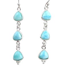 12.57cts natural blue larimar 925 sterling silver dangle earrings jewelry r38187