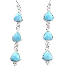 11.93cts natural blue larimar 925 sterling silver dangle earrings jewelry r38194