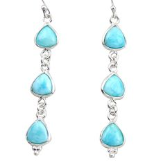 11.28cts natural blue larimar 925 sterling silver dangle earrings jewelry r38195