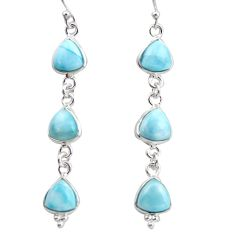 12.54cts natural blue larimar 925 sterling silver dangle earrings jewelry r38198