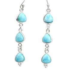 12.52cts natural blue larimar 925 sterling silver dangle earrings jewelry r38200