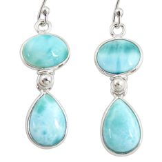 13.02cts natural blue larimar 925 sterling silver dangle earrings jewelry r38202