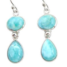 14.03cts natural blue larimar 925 sterling silver dangle earrings jewelry r38205