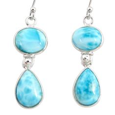 13.52cts natural blue larimar 925 sterling silver dangle earrings jewelry r38212