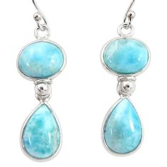 13.64cts natural blue larimar 925 sterling silver dangle earrings jewelry r38219