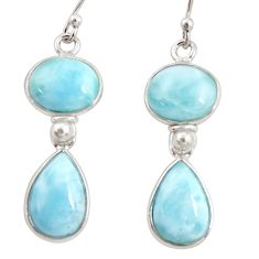 12.96cts natural blue larimar 925 sterling silver dangle earrings jewelry r38220