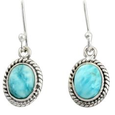 5.87cts natural blue larimar 925 sterling silver dangle earrings jewelry r41061