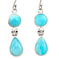 11.77cts natural blue larimar 925 sterling silver dangle earrings jewelry r42481