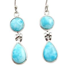 11.93cts natural blue larimar 925 sterling silver dangle earrings jewelry r42482