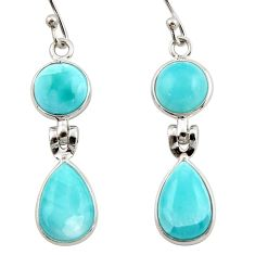 12.21cts natural blue larimar 925 sterling silver dangle earrings jewelry r42483