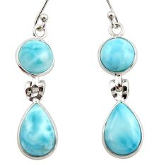 12.52cts natural blue larimar 925 sterling silver dangle earrings jewelry r42484