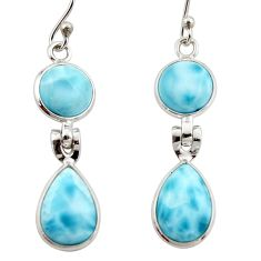 11.96cts natural blue larimar 925 sterling silver dangle earrings jewelry r42486