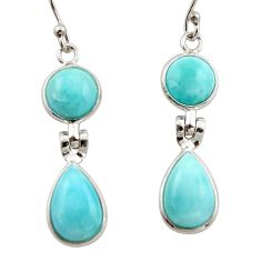 12.46cts natural blue larimar 925 sterling silver dangle earrings jewelry r42487