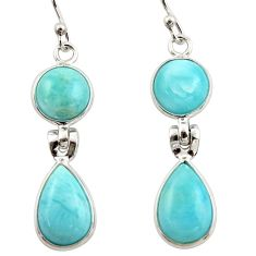 12.38cts natural blue larimar 925 sterling silver dangle earrings jewelry r42488