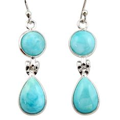 12.12cts natural blue larimar 925 sterling silver dangle earrings jewelry r42489