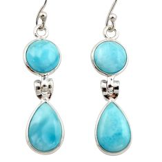11.09cts natural blue larimar 925 sterling silver dangle earrings jewelry r42490