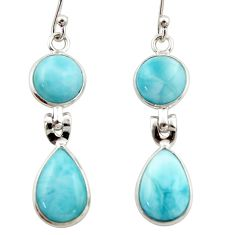 11.12cts natural blue larimar 925 sterling silver dangle earrings jewelry r42491
