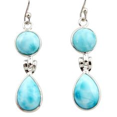 12.52cts natural blue larimar 925 sterling silver dangle earrings jewelry r42492