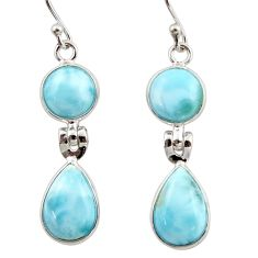 12.01cts natural blue larimar 925 sterling silver dangle earrings jewelry r42493