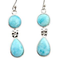 11.56cts natural blue larimar 925 sterling silver dangle earrings jewelry r42494