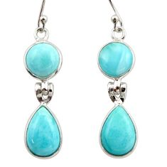 12.46cts natural blue larimar 925 sterling silver dangle earrings jewelry r42495