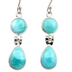 11.56cts natural blue larimar 925 sterling silver dangle earrings jewelry r42496