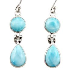 11.59cts natural blue larimar 925 sterling silver dangle earrings jewelry r42497