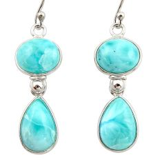 13.33cts natural blue larimar 925 sterling silver dangle earrings jewelry r42498