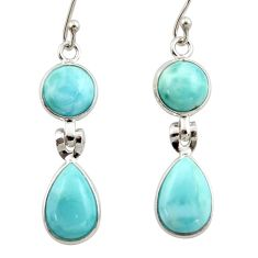 12.24cts natural blue larimar 925 sterling silver dangle earrings jewelry r42499