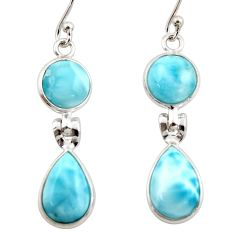 12.49cts natural blue larimar 925 sterling silver dangle earrings jewelry r42500