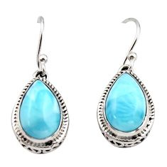 8.79cts natural blue larimar 925 sterling silver dangle earrings jewelry r42970