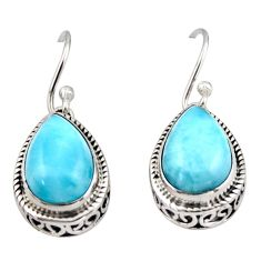 8.61cts natural blue larimar 925 sterling silver dangle earrings jewelry r42972