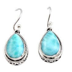 8.60cts natural blue larimar 925 sterling silver dangle earrings jewelry r42973
