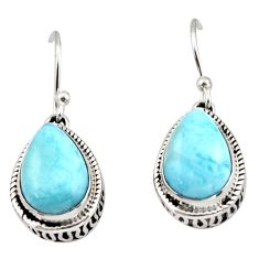 8.47cts natural blue larimar 925 sterling silver dangle earrings jewelry r42974