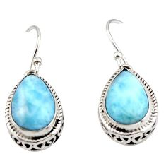 8.49cts natural blue larimar 925 sterling silver dangle earrings jewelry r42975