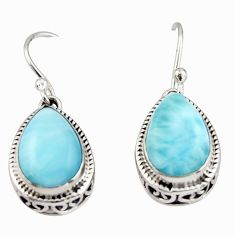 8.79cts natural blue larimar 925 sterling silver dangle earrings jewelry r42976