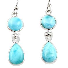 11.73cts natural blue larimar 925 sterling silver dangle earrings jewelry r42979