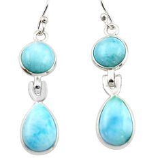 12.29cts natural blue larimar 925 sterling silver dangle earrings jewelry r42980