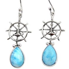 5.24cts natural blue larimar 925 sterling silver dangle earrings jewelry r48246