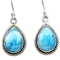 9.45cts natural blue larimar 925 sterling silver dangle earrings jewelry r52103