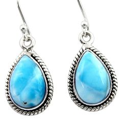 9.53cts natural blue larimar 925 sterling silver dangle earrings jewelry r52107