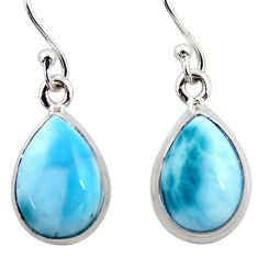 9.49cts natural blue larimar 925 sterling silver dangle earrings jewelry r52110