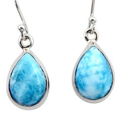 9.61cts natural blue larimar 925 sterling silver dangle earrings jewelry r52114