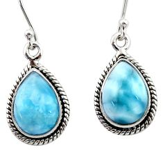 9.18cts natural blue larimar 925 sterling silver dangle earrings jewelry r52117