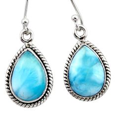 9.20cts natural blue larimar 925 sterling silver dangle earrings jewelry r52118