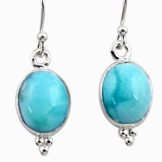 8.26cts natural blue larimar 925 sterling silver dangle earrings jewelry r52134