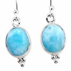 7.66cts natural blue larimar 925 sterling silver dangle earrings jewelry r52166