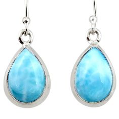 9.18cts natural blue larimar 925 sterling silver dangle earrings jewelry r52176