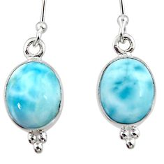 8.56cts natural blue larimar 925 sterling silver dangle earrings jewelry r52180